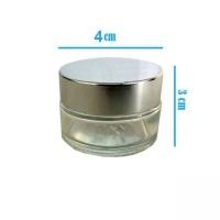 دوات خوشنویسی شیشه ای شفاف با درب نقره ای متوسط