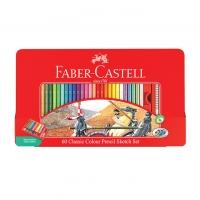 مداد رنگی۶۰رنگ جعبه فلزی کلاسیک فابر کاستل